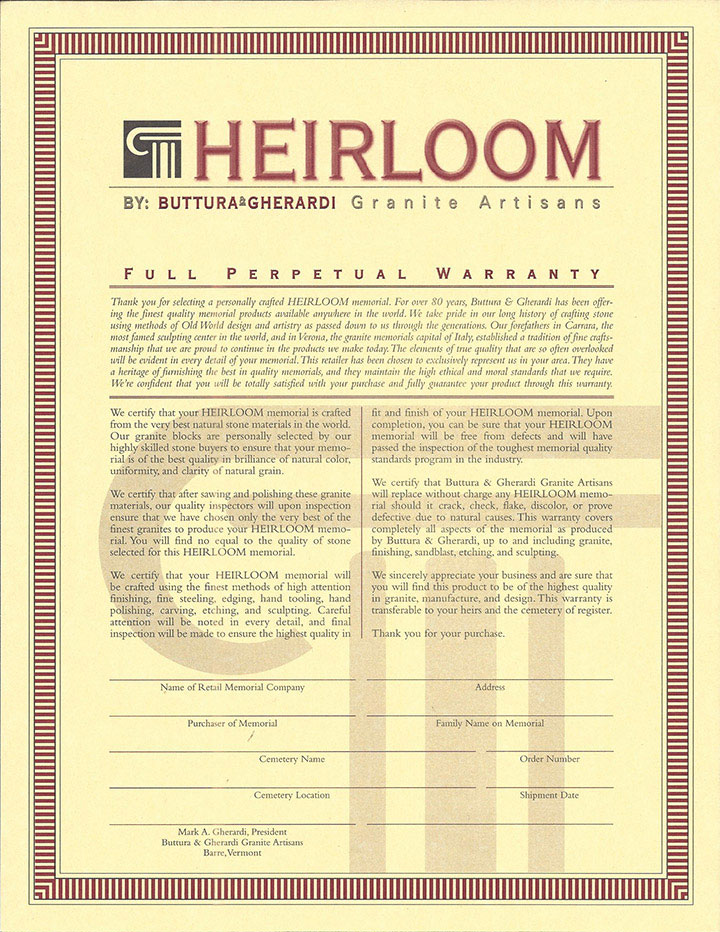 Heirloom Warranty